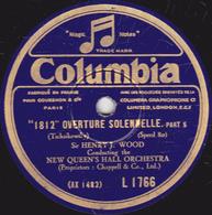 """78 Trs - 30 Cm - état B - """"1812"""" OVERTURE SOLENNELLE - CHANT SANS PAROLES - NEW QUEEN'S HALL ORCHESTRA - 78 T - Disques Pour Gramophone"""