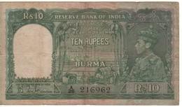 BURMA    10 Rupees   P5    King George  VI    ( ND 1938 ) - Myanmar