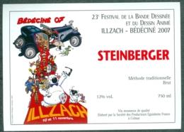 Etiquette De Vin Alsace Bédéciné 2007 - 23ème Festival BD à  Illzach Haut-Rhin , Dessin De Rodrigue - Fumetti