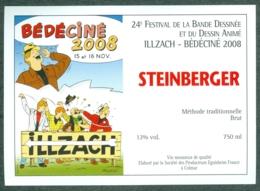 Etiquette De Vin Alsace Bédéciné 2008 - 24ème Festival BD à  Illzach Haut-Rhin , Dessin De Tibet - Fumetti