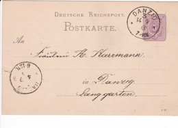 Ganzsache DR P12/01 4 83, Danzig 14.9.1883 Ortskarte - Danzig