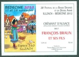 Etiquette De Vin Alsace Bédéciné 2012 - 28ème Festival BD à  Illzach Haut-Rhin , Dessin De Turf - Fumetti