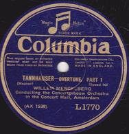 78 Trs - 30 Cm - état TB - TANNHAUSER- OVERTURE (Wagner) - PART 1 - PART 2 - WILLEM MENGELBERG - 78 T - Disques Pour Gramophone