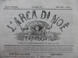 JOURNAL ITALIA L ARCA DI NOE N° 1 GIORNALE UMORISTICO POLITICO QUOTIDIANO 1862 - Autres