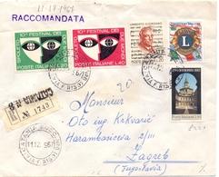 1967 RACCOMANDATA Da CATANIA   PER ZAGREB JUGOSLAVIA  022 - 1946-60: Marcofilia