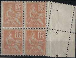 FRANCE Mouchon 1900 N°117**/*, Bloc De 4 Bord De Feuille Piquage Fauté Oblique Par Pliage,  Superbe Et RR - Curiosities: 1900-20 Mint/hinged