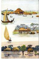 CAMBODGE  MAISON DE PECHEUR SUR LE TONLE SAP  -  TRES BELLE ILLUSTRATION - Cambodia