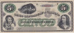 BILLETE DE ARGENTINA DE 5 PESOs DEL BANCO OXANDABURU Y GARBINO DEL AÑO 1869  (BANKNOTE) SIN CIRCULAR-UNCIRCULATED - Argentine