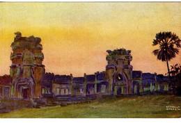 CAMBODGE  ANGKOR VAT   ENTREE MONUMENTALE   -  TRES BELLE ILLUSTRATION - Cambodia