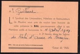 Vieux Papiers > Non Classés Bal Le Syndicat Des Limonadiers ,Hôteliers Et Restaurateur De Moulins - Non Classés