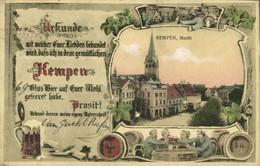 KEMPEN, Markt, Bier Urkunde (1919) AK - Germany