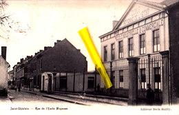 SAINT-GHISLAIN - La Rue De L'Ecole Moyenne - Ecole Industrielle Et Commerciale (sur Fronton école) - Saint-Ghislain