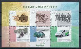 Ungarn Bl. 'Postkutsche Fahrrad Motorrad Postauto' / Hungary M/s 'Mailcoach Bicycles Motorcycle Postal Vans' **/MNH 2017 - Post