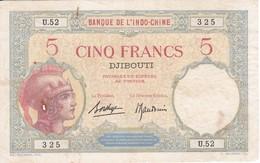 BILLETE DE DJIBOUTI DE 5 FRANCS DEL AÑO 1943 (BANKNOTE) BANQUE DE L'INDO-CHINE - Dschibuti