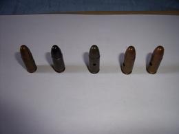 4 Munitions Diverses 9mm Para: Française - Anglaise Et USA (Neutralisées !) - Armes Neutralisées