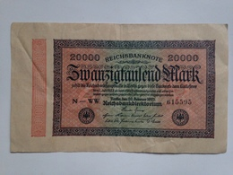 Billete Alemania. 20.000 Marcos. 20-2-1923. Marca G D. Original. Muy Buena Conservación. 1 Unidad = 1,50 Euro. - 20000 Mark