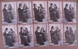 """11/149-série 10cp """"Petite Fille (espiègle) & Grand Mère (fileuse,Rouet)"""" - 1° Tirage Voy 1904 - Enfants"""