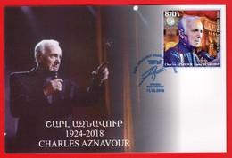 Armenien / Armenie / Armenia 2018, Charles Aznavour (1924-2018), Composer, Singer SS  - Card Maximum - Muziek