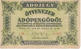 BILLETE DE HUNGRIA DE 50000 ADOPENGO DEL AÑO 1946  (BANKNOTE) - Hungría