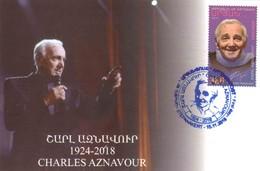 Armenien / Armenie / Armenia / Artsakh / Karabakh 2018, Charles Aznavour (1924-2018), Singer, Actor - Card Maximum - Armenia