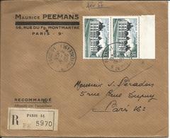 Lettre Recommandé Du 1956 Avec Une Paire N°980 Et Une Paire Au Verso N°1039 - Poststempel (Briefe)