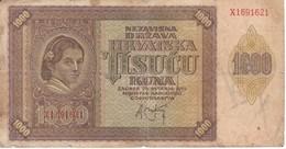 BILLETE DE CROACIA DE 1000 KUNA DEL AÑO 1941 (BANKNOTE) - Croacia