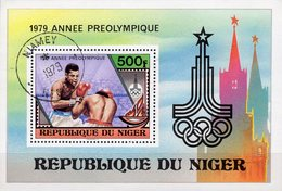 1979 Boxen Niger Block 24 O 2€ Vor-Olympiade Moskau Boxkampf Bloque Hb S/s Hojitas M/s Bloc Sport Sheet Bf Olympics - Niger (1960-...)