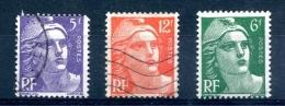 Type Marianne De Gandon - Yvert 883 884 885 Dont Mèches Croisées - T 305 - 1945-54 Marianne De Gandon
