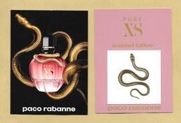 Carte Parfumée Perfume Card Avec Tattoo PURE XS * PACO RABANNE * R/V - Perfume Cards