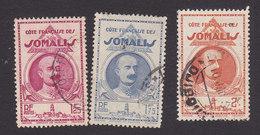 Somali Coast, Scott #167, 171-172, Used, Governor Lagarde, Issued 1938 - French Somali Coast (1894-1967)