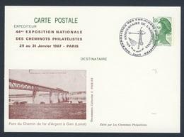 France Rep. Française 1987 Card / Karte / Carte Postale - Pont Du Chemin De Fer D'Argent à Gien,Loiret / Bridge / Brücke - Treinen