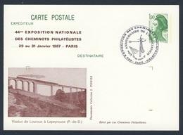 France Rep. Française 1987 Card / Karte / Carte Postale - Viaduc Louroux à Lapeyrouse (P.-de-D.) / Bridge / Brücke - Treinen