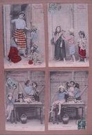 """11/157-série 4cp """"Petits Orphelins"""" Colorisées Voy 1907 - Enfants"""