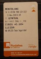 2018 RENFE ESPAÑA. TICKET  DE TREN. MONTBLANC - LLEIDA - Trenes