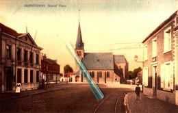 QUAREGNON - Grand'Place - Carte Colorée Avec Ancienne Maison Communale Sur Coin Gauche De La Carte - Quaregnon