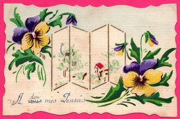 Cp Toilée - A Vous Mes Pensées - Pare Vue - Fleurs - Edit. J.K. - 1918 - Blumen