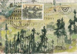 Austria 1987 Maxicard Scott #1412 Baumgottinnen By Arnulf Neuwirth Modern Art - Cartes-Maximum (CM)