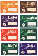 AVIATION : Lot De 8 étiquettes Différentes De La Compagnie Aérienne T.A.I. - Étiquettes à Bagages