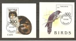 Tanzanie 1992 - Petit Lot De 2 Bloc° - 967H/ 985 - Chat Européen - Oiseau - Coucou Européen - Tanzanie (1964-...)