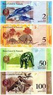 LOTE CONJUNTO 4 BILLETES BOLÍVARES DE VENEZUELA ANIMALES DELFÍN OSOS PÁJARO UNC - Billetes