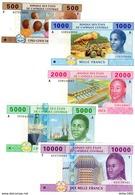 LOT SET SERIE  5 BILLETS CONGO AFRIQUE CENTRALE FRANCS 2002  NEUF UNC - Billets