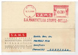 Cartolina Commerciale Biella - S.A. Manifattura Stoffe - Biella