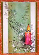 Auguri Buon Natale Felice Anno Nuovo Candela Cartolina 1976 - Navidad