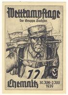 Deutsches Reich Propaganda Karte Wettkampftage Gruppe Sachsen Chemnitz 1939 / Michel No. 694 Sonderstempel - Deutschland