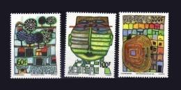 SENEGAL 1979 1980 YT 524/6 524 525 526 Mi 705/7 FULL SET HUNDERTWASSER ART PAINTING PAINTINGS JOINT ISSUE MNH ** RARE - Joint Issues