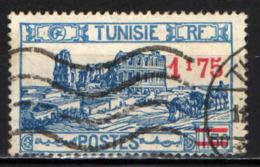TUNISIA - 1937 - ANFITEATRO ROMANO CON SOVRASTAMPA - 1,75 SU 1,50 F. - USATO - Tunisie (1888-1955)