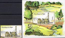 Loks 1980 Niger 712+Block 29 O 4€ Lok Des Schnellzug Rocket Great Britain Bloque Hb S/s Train Bloc Sheet Bf Railway - Niger (1960-...)