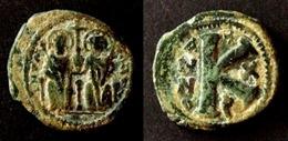 BYZANCE - JUSTIN II  - HALF FOLLIS - JUSTIN Et SOPHIA  -  THEOUPOLIS  -  VERY RARE  – BYZANTINE  - ANTIOCHE - Byzantine