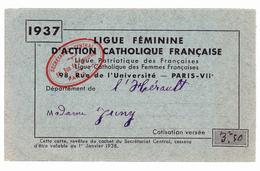Ligue Féminine D'Action Catholique Française, Département De L'Hérault. 1937 - Documents Historiques