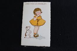 R-123 / Illustrateurs & Photographes - Non Signés, La Petit Fille Et Le Chien -  Aimez Vous Le Chocolat  ? - Humour